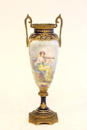 "19th C Sevres Vase Depicting ""Girl Playing Violin"""