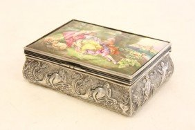 Continental Silver & Enamel Box Signed Boucher