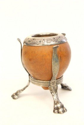 Unusual Silver & Coconut Shell Vase