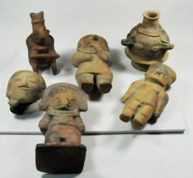 Group Of 6 Pre-Columbian Pottery Figures
