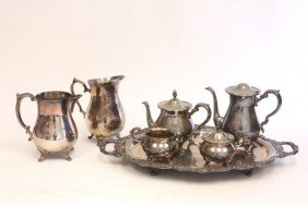 5 Piece Silver Plated Tea Set & 2 Water Pitchers