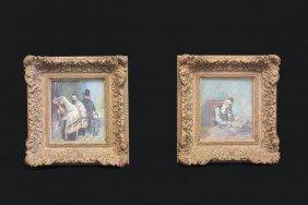 Pair Judaic Scene Watercolors By Ilya Schor