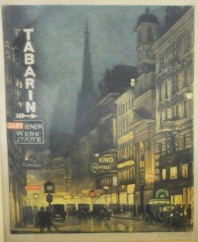 Colored Lithograph Signed F. Michel Ca. 1915