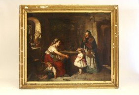 """Oil Painting Depicting """"Genre Scene With Family"""""""