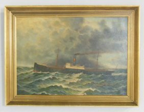 "Oil Painting Depicting "" The Kentucky At Sea"""