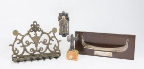 3 Pieces Of Judaica & Silver Canoe
