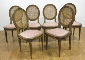 Set Of 6 Louis Xvi Style Cane Back Side Chairs