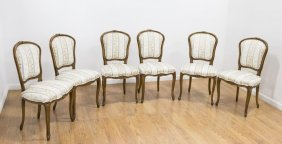 6 French Style Carved Walnut Side Chairs