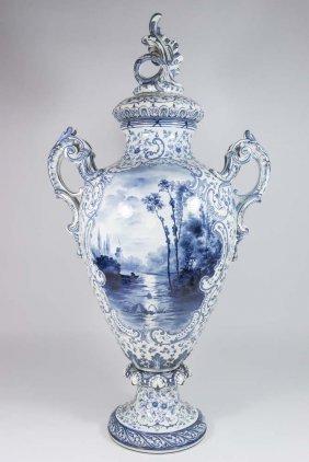 "Royal Bonn ""delft"" Covered Urn"