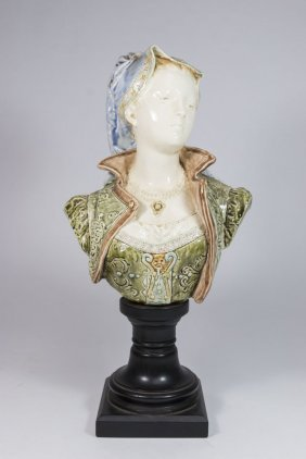 French Faience Bust Of Lady
