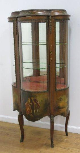 Vernis Martin Curved Glass Curio Cabinet