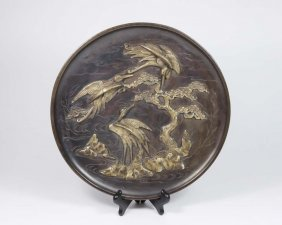 19th Century Signed Bronze Japanese Charger