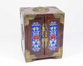 Asian Miniature Jewelry Chest With Enamel Plaques