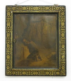 Triptych Mirror With Winter Hunt Prints