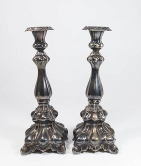 Pair Sterling Silver Weighted Candlesticks