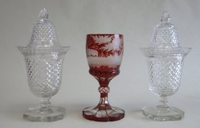 2 Cut Glass Covered Compotes & Red To Clear Goblet