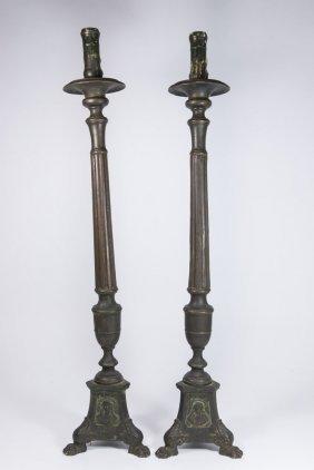 Pair Bronze Lamp Bases