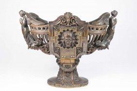 Bronze Religious Figural Compote Centerpiece