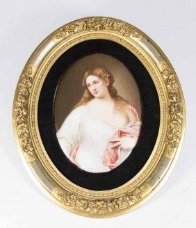 19th C. Porcelain Plaque, Semi-nude Woman