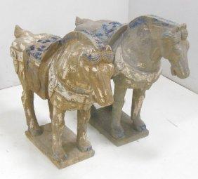 Pair Of Chinese Stone Horses
