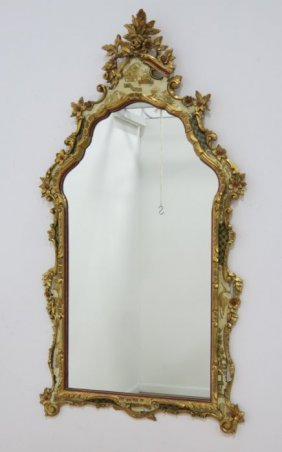 Italian Giltwood Carved Mirror With Asian Motif