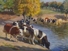 Willy Tag, Kühe Am Wasser
