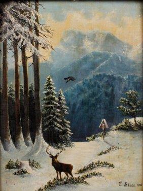 C. Stoss, Hirsch In Winterlandschaft