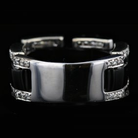 18k White Gold Black Onyx & 0.72ct Diamond Ring