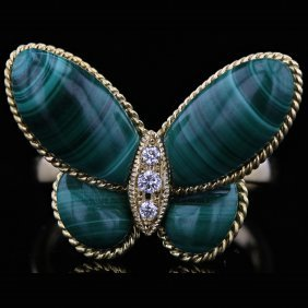 18k Yellow Gold Malachite & 0.04ct Diamond Ring
