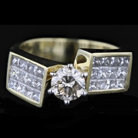 18k Two Tone White & Yellow Gold 2.15ct Solitaire
