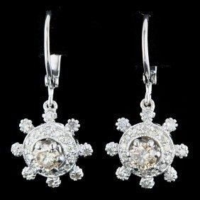 14k White Gold 0.88ct Fancy Diamond Earrings
