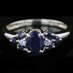 14k Yellow Gold 1.18ct Sapphire & 0.04ct Diamond Ring