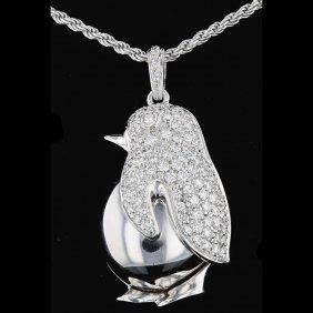 18k White Gold, 1.29ct Diamond Pendant
