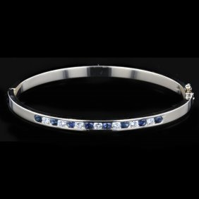 14k Yellow Gold, 0.78ct Sapphire, 0.53ct Diamond Bangle