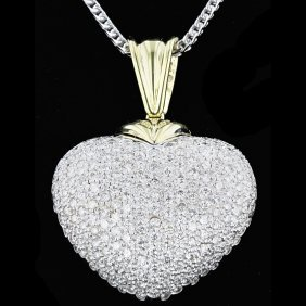 18k 2t Gold, 3.91ct Diamond Pendant