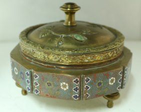 Cloisonne Tripod Box With Cover