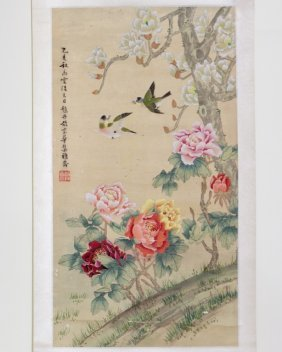 Scroll Of Floral And Bird Painting Signed Zhao, Dan