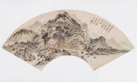 Fan-shaped Landscape Painting Signed Wu, Qinmu