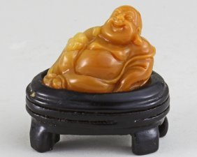 Soapstone Carving With Reclining Buddha.