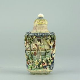 Ivory Carved Polychrome Snuff Bottle