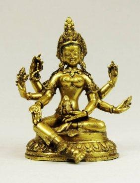 Sino-tibetan Gilt Bronze Figure Of Manjushri