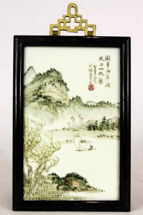 Pair Of Chinese Porcelain Framed Wall Plaques