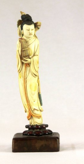 Chinese Ivory Carved Figure Of Music Lady