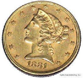 1881 $5 DOLLAR GOLD COIN