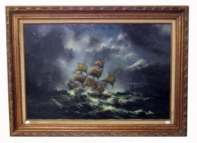 SHIP IN NIGHT STORM PAINTING