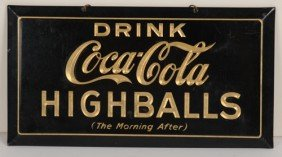 1921 COCA-COLA CELLULOID OVER TIN HIGHBALLS SIGN