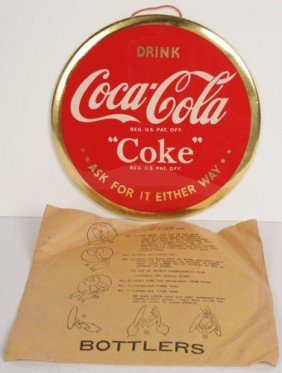 1940'S COCA-COLA CELLULOID SIGN