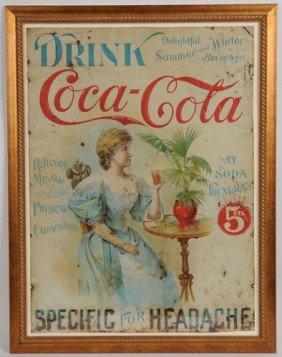 EXCEEDINGLY RARE 1898 EMBOSSED COCA-COLA TIN SIGN