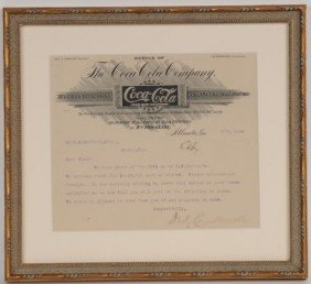1896 COCA-COLA LETTERHEAD SIGNED BY ASA CANDLER