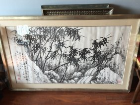 Large Chinese Bamboo Painting Signed